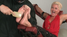 Barefoot tickled Sharon with oiled feet